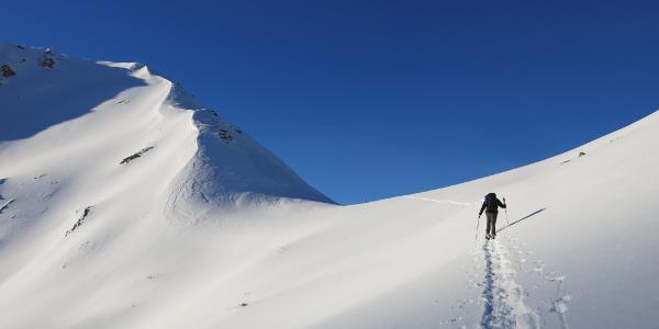 ...der unbenannten Scharte zwischen Sonnenspitze und Skispitzl entgegen