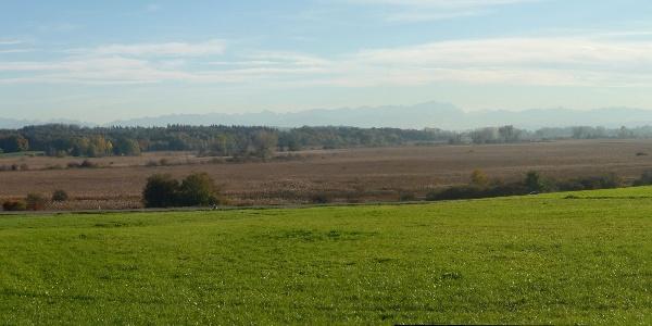 Panoramablick über das Ampermoos vom weg südlich der Bahn