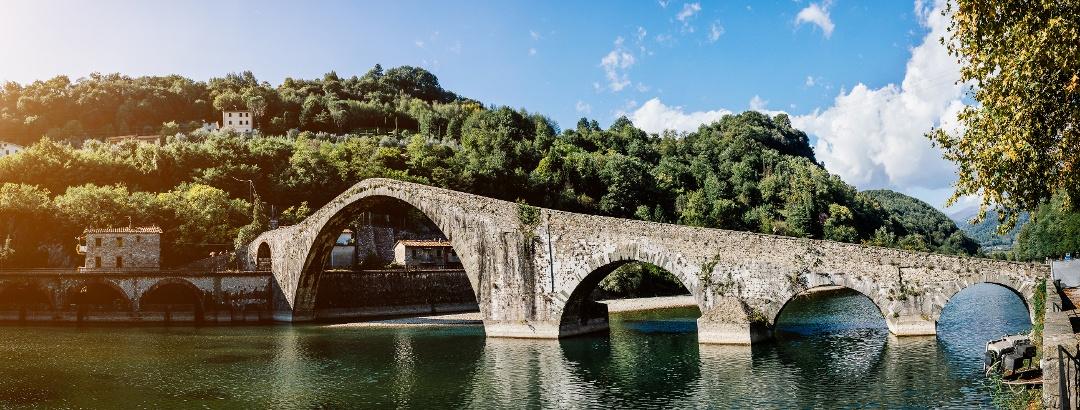 Bridge over River Serchio in Lucca