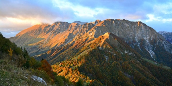 View of the Mt. Krn Mountain chain in autumn