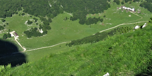 Zapleč and Zaprikraj Mountain pastures viewed from the trail towards the Vrata Mountain pass