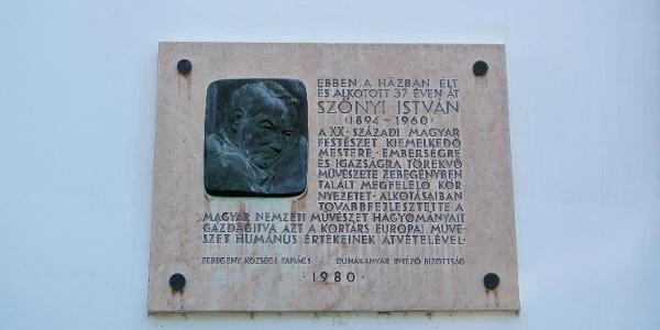Emléktábla a zebegényi Szőnyi István Emlékmúzeum falán