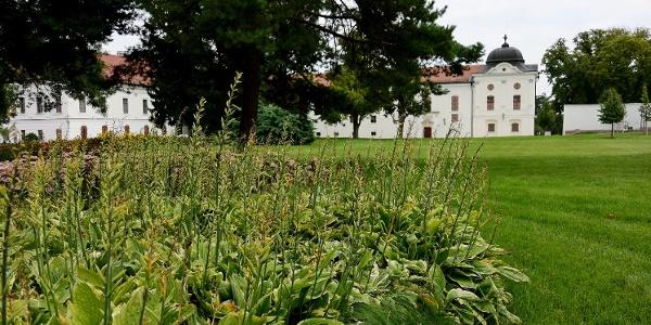 Virágos park a Grassalkovich-kastély előtt