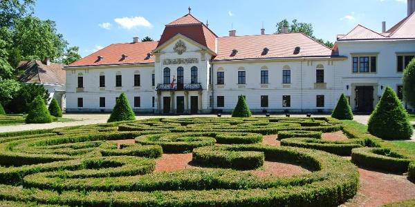 A nagycenki Széchenyi-kastély előtt kacskaringós formába ültetett, szabályosra nyírt sövény között sétálhatunk