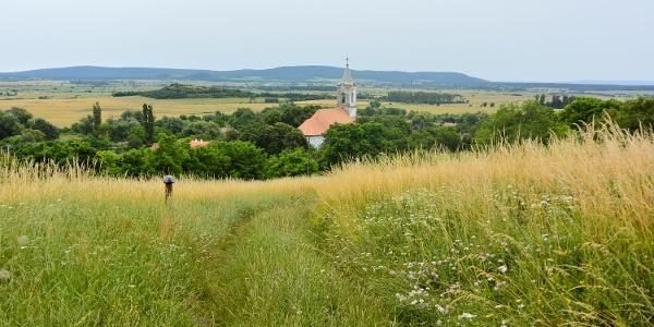 Kilátás a Kisfaludi templomromtól a mindszentkállai Mindenszentek-templomra