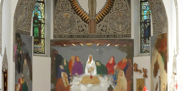 Udvardi Erzsébet Kossuth-díjas festőművész Utolsó vacsora c. festménye a badacsonytomaji Bazalttemplom oltárképe