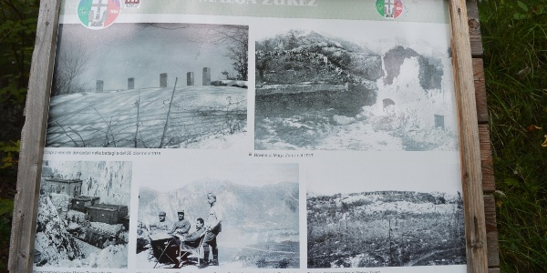 Board at Malga Zures with pics and info about WW1