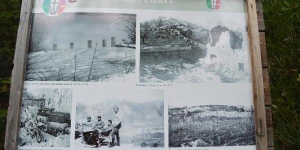 Tafel bei malga Zures mit Bilder und Infos über den 1. Weltkrieg