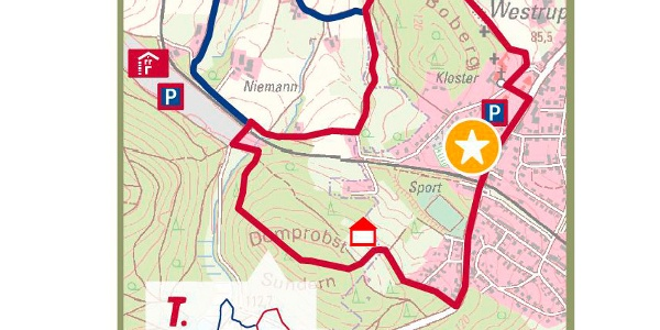 """TERRA.track Schau ins Land – Ausschnitt der Schautafel am Naturpark-Wanderparkplatz """"Kloster Ohrbeck"""" in Holzhausen"""