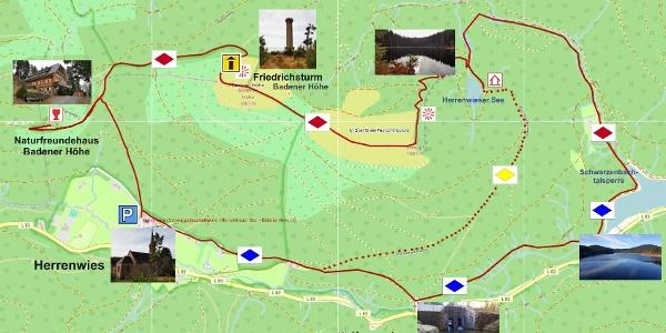 Die OSM-Karte zeigt die große Runde bis zur Schwarzenbachtalsperre. Sie ist 12,5 km lang.