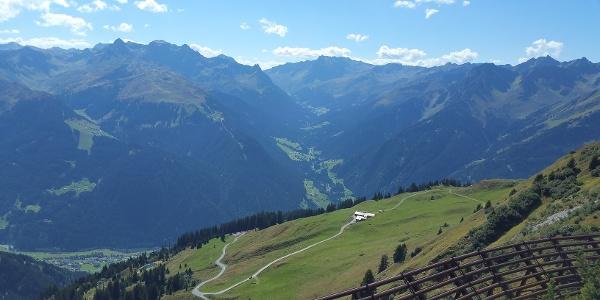 Weg zur Grasjoch Hütte - im Hintergrund die Zamangalpe