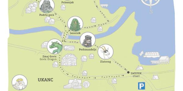 Zemljevid Zlatorogove pravljične poti