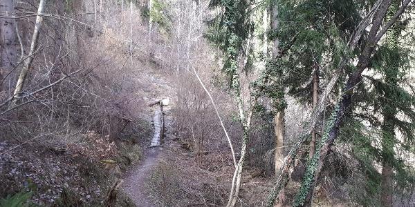 Gleich hinter den Huber-Höfen am Unterinner Ortsrand schlängelt sich der Weg schon bald recht urig durch Mischwald und über kleine Stege (im Bild) hinein in den Graben des Gastererbaches mit ungefährlichem (Spiel)Zugang zum Wassser direkt an der Holzbrücke.