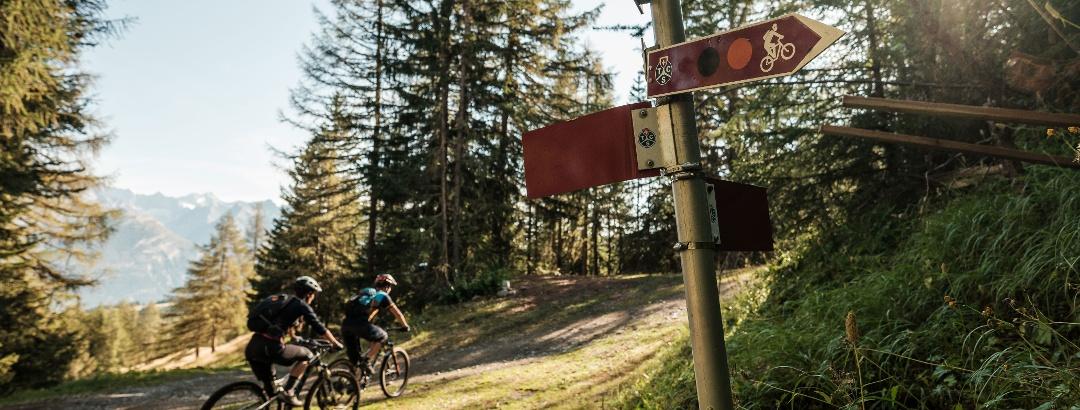 Mountainbiker auf dem Weg in die richtige Richtung dank Verkehrszeichen