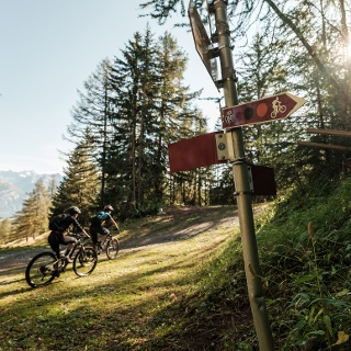 Mountain biker going in the right direction thanks to traffic signs