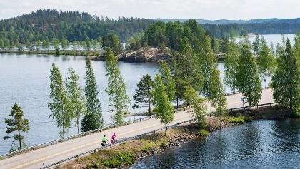 Cycling by Lake Saimaa
