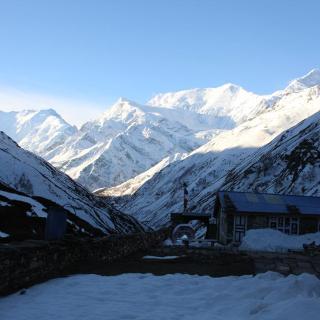 Blick auf das Annapurnamassiv von Yak Kharka