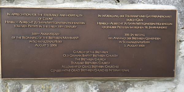 """Gedenktafel Taufstelle Schwarzenau """"Church of Brethren"""""""