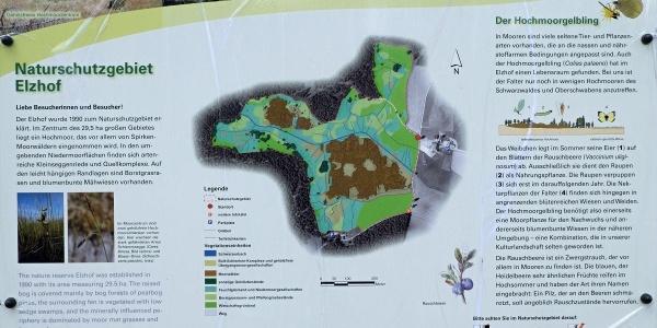 Infotafel zum Naturschutzgebiet Elzhof