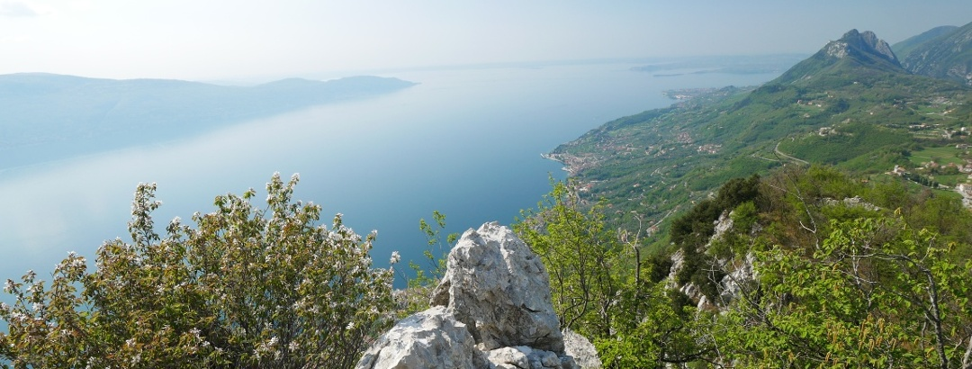 Magnificent view of Lake Garda from the hermitage of San Valentino