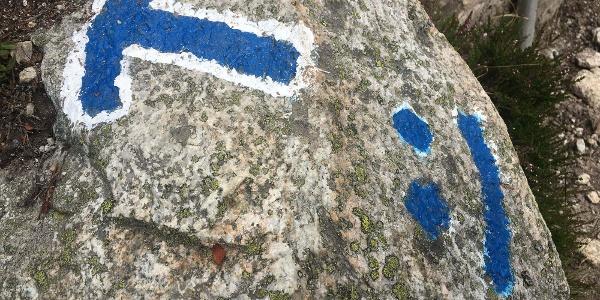 Een blauwwitte route betekent alpien terrein.