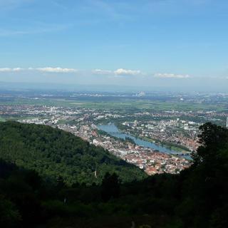 Aussicht vom Königstuhl auf Heidelberg