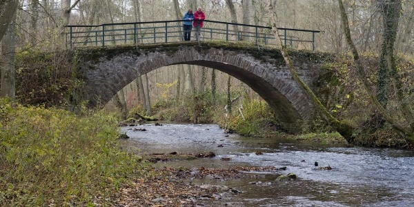 Eltzer Burgpanorama_romantische Klinker-Brücke