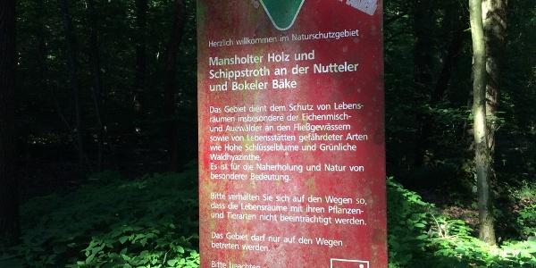 Hinweis auf das Naturschutzgebiet
