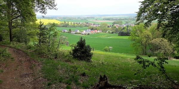 Blick vom Kirschberg auf Hohburg, Lossatal