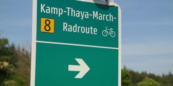 Beschilderung Kamp-Thaya-March Radroute