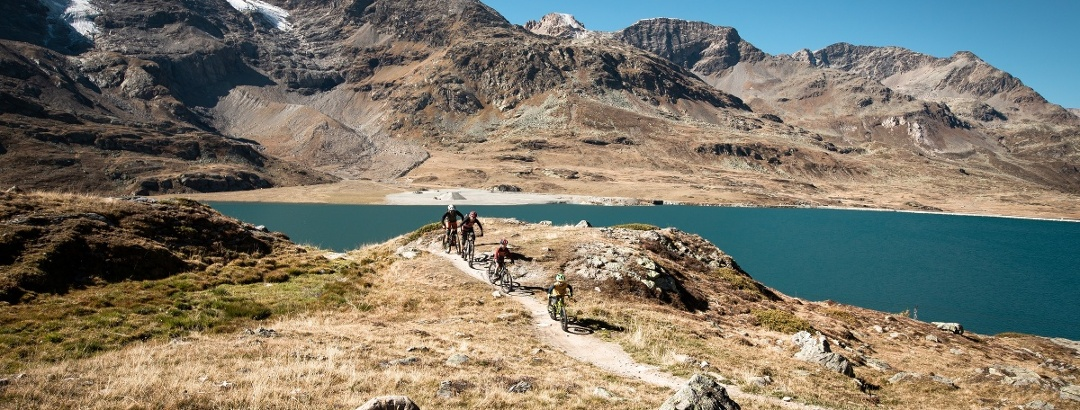 biker along lago Bianco