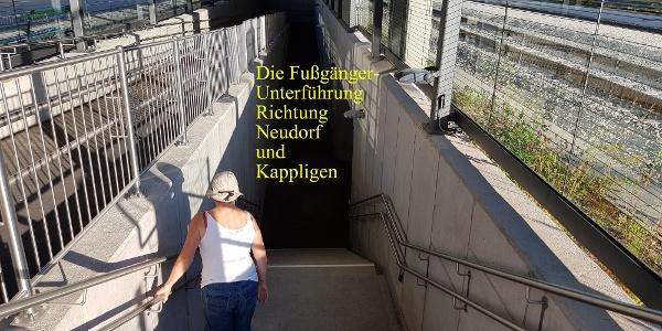 Die Fußgängerunterführung für die Wanderung nach Kappligen und zur Karolinenhöhe.