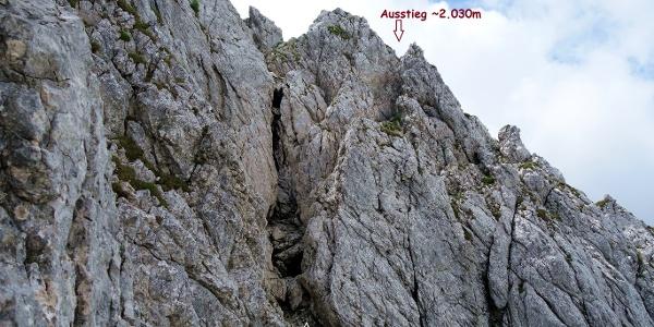 Steilstufe 2005m - ~2030m mit Trittbügel und Stahlseil