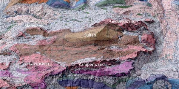 Kampenwald-Mulde: 3D-Geländemodell mit geologischer Karte überlagert