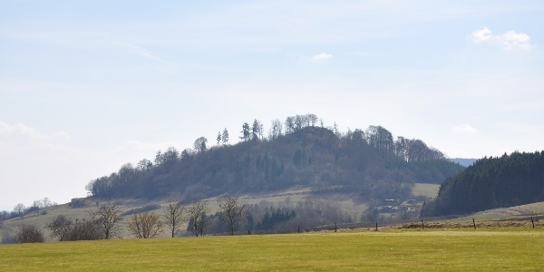 Schauenburger Burgberg mit rechts liegendem Wald am Kleinen Schönberg