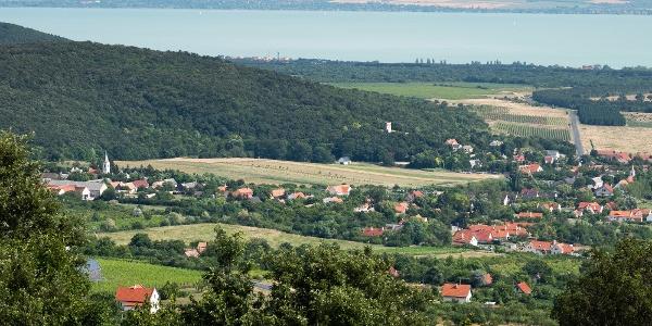 Kilátás a Kossuth-kilátóból a Balaton felé, az előtérben Dörgicse