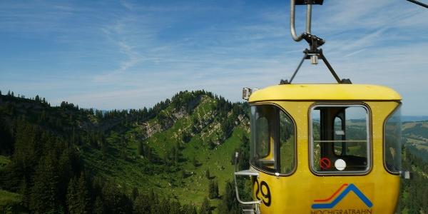 Yellow gondola of the Hochgratbahn