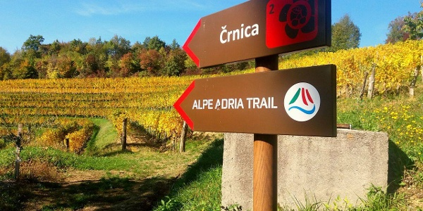 Črnica and Alpe Adria Trail Signpost
