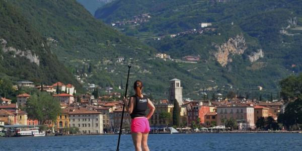 SUP: view over Riva del Garda from Lake Garda