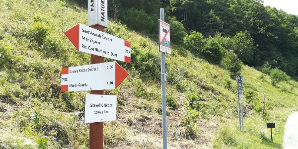 Hinweis auf ein wichtiges Zwischenziel der 17. Etappe, dem Mt. Guarda