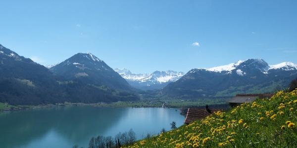 Blick über den Sarnersee in Richtung Giswil mit den Berner Alpen im Hintergrund