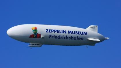 Zeppelin with advertisement for the museum in Friedrichshafen