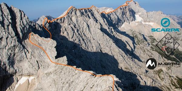 Jubiläumsgrat Übersichtsbild von der Alpspitze mit Route - Topo