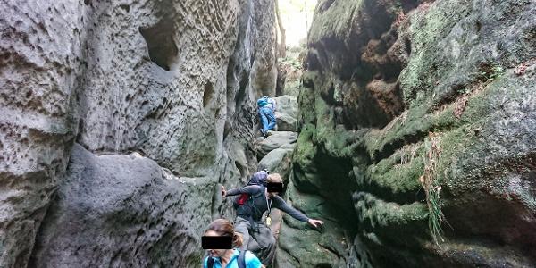 Abenteuerlicher Abstieg in der Riegelhofstiege