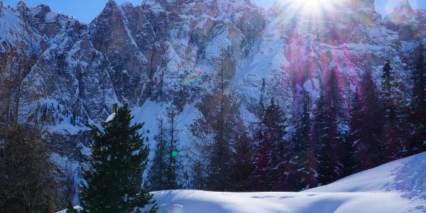 Blick zur Puezgruppe im Naturpark Puez-Geisler; Dolomiten UNESCO Welterbe