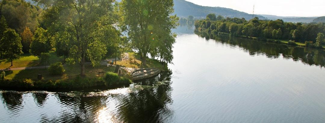 Mündung der Saar in die Mosel in Konz