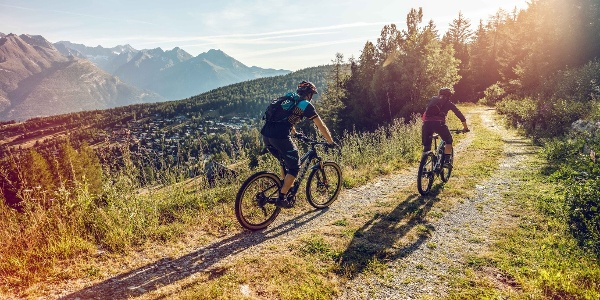 Mountain bikers above Bürchen