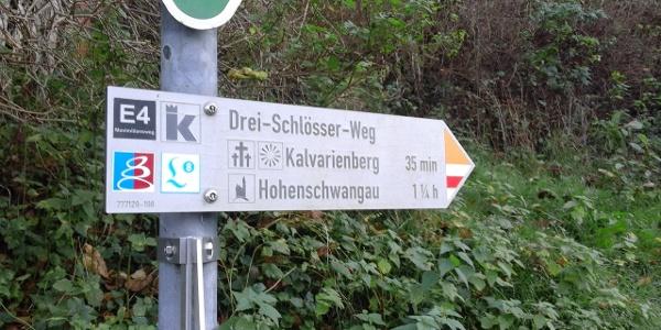 Wanderbeschilderung des Drei-Schlösser-Weg