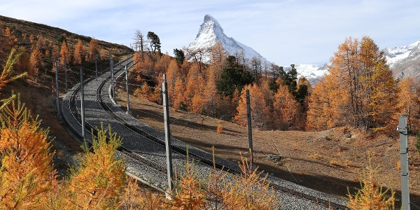 Tracks of the Gornergrat Bahn with view to the Matterhorn