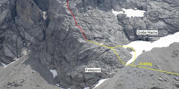 Einstieg am Felssporn.
